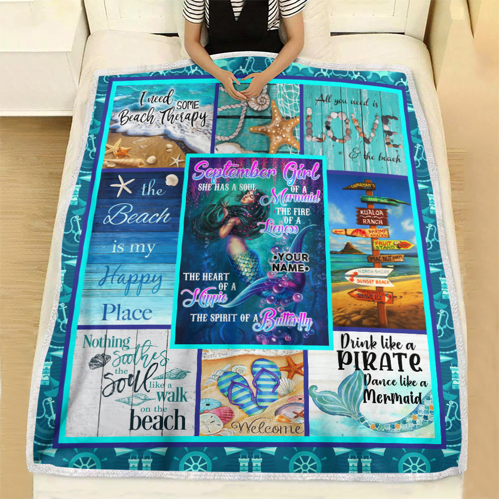 Personalized Fleece Throw Blanket September Girl She Has A Soul Of A Mermaid Pattern 1 Lightweight Super Soft Cozy For Decorative Couch Sofa Bed
