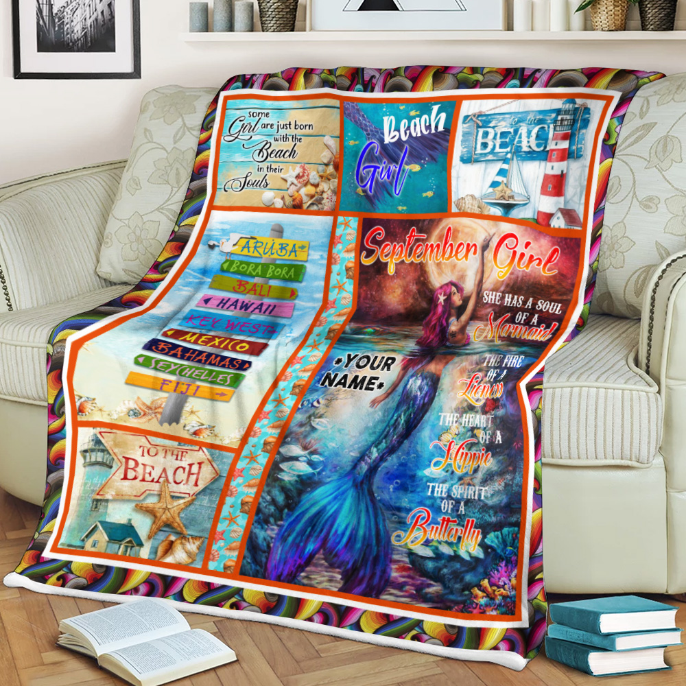 Personalized Fleece Throw Blanket September Girl She Has A Soul Of A Mermaid Pattern 2 Lightweight Super Soft Cozy For Decorative Couch Sofa Bed
