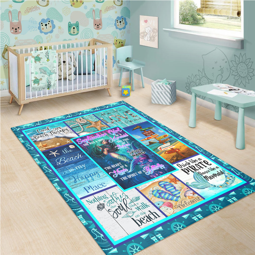 Personalized September Girl She Has A Soul Of A Mermaid Pattern 1 Vintage Area Rug Anti-Skid Floor Carpet For Living Room Dinning Room Bedroom Office