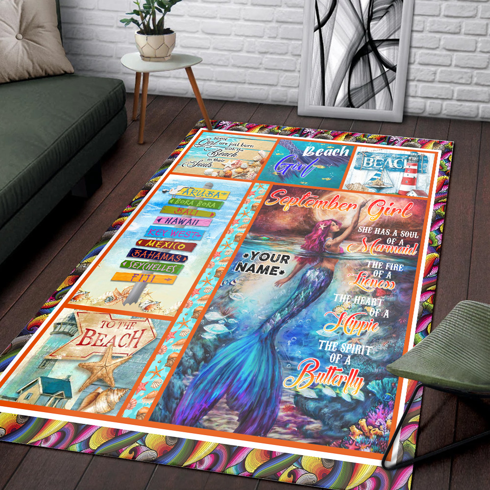 Personalized September Girl She Has A Soul Of A Mermaid Pattern 2 Vintage Area Rug Anti-Skid Floor Carpet For Living Room Dinning Room Bedroom Office