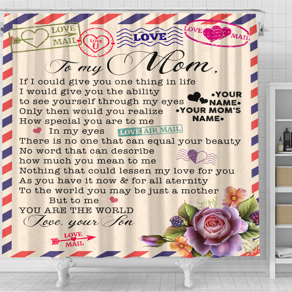 Personalized Lovely Shower Curtain To My Mom No Word Can Describe How Much You Mean To Me Pattern 1 Set 12 Hooks Decorative Bath Modern Bathroom Accessories Machine Washable