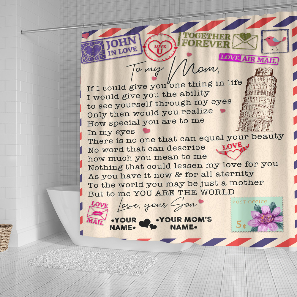 Personalized Lovely Shower Curtain To My Mom No Word Can Describe How Much You Mean To Me Pattern 2 Set 12 Hooks Decorative Bath Modern Bathroom Accessories Machine Washable