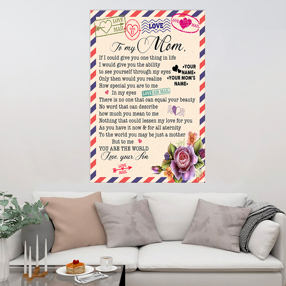 Personalized Lovely Wall Art Poster To My Mom No Word Can Describe How Much You Mean To Me Pattern 1 Prints Decoracion Wall Art Picture Living Room Wall