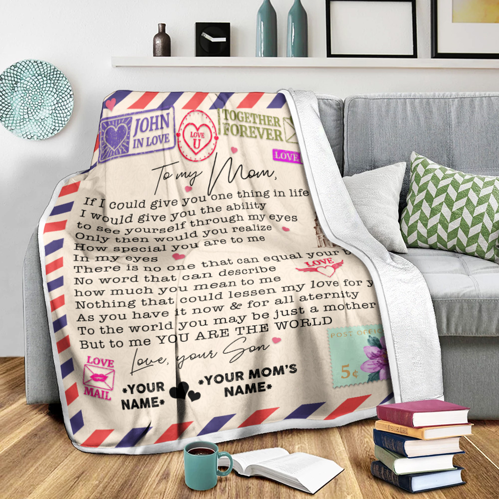 Personalized Lovely Fleece Throw Blanket To My Mom No Word Can Describe How Much You Mean To Me Pattern 2 Lightweight Super Soft Cozy For Decorative Couch Sofa Bed