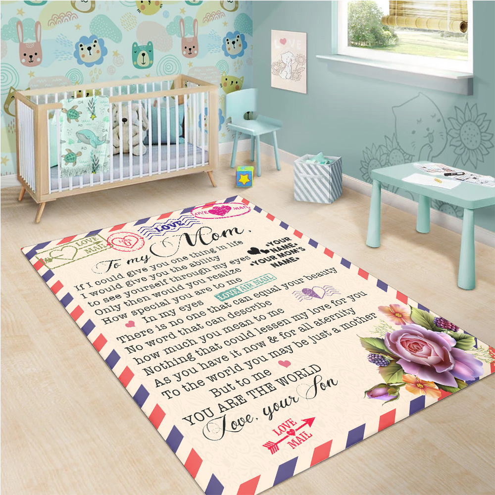 Personalized Lovely To My Mom No Word Can Describe How Much You Mean To Me Pattern 1 Vintage Area Rug Anti-Skid Floor Carpet For Living Room Dinning Room Bedroom Office