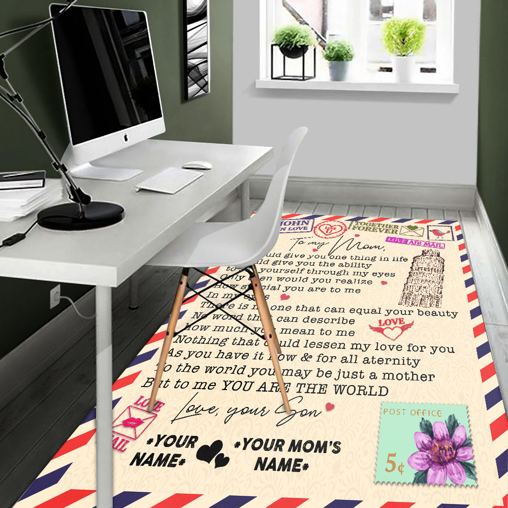 Personalized Lovely To My Mom No Word Can Describe How Much You Mean To Me Pattern 2 Vintage Area Rug Anti-Skid Floor Carpet For Living Room Dinning Room Bedroom Office