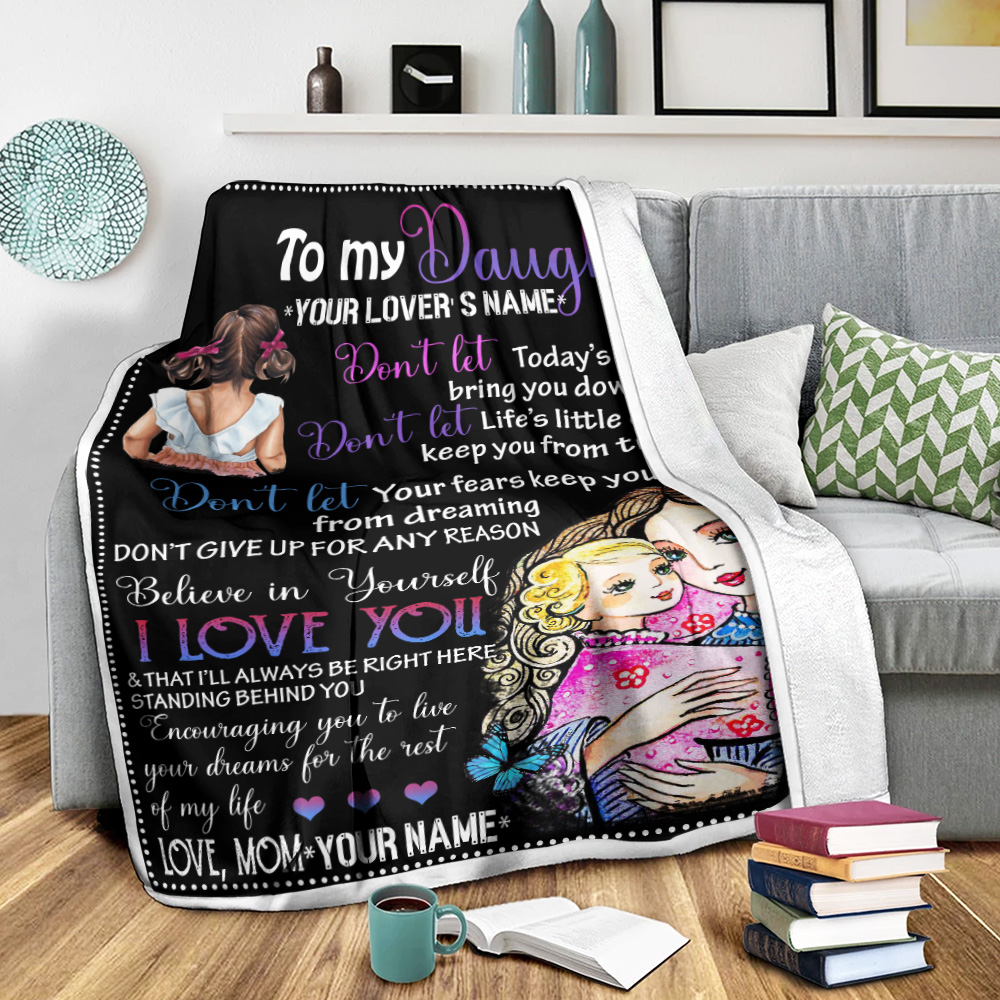 Personalized Fleece Throw Blanket To My Daugter I Love You & That I'll Always Be Right Here Standing Behind You Pattern 2 Lightweight Super Soft Cozy For Decorative Couch Sofa Bed