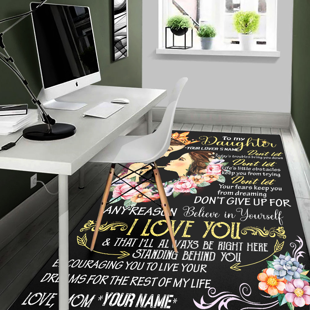 Personalized Floor Area Rugs To My Daugter I Love You & That I'll Always Be Right Here Standing Behind You Pattern 1 Indoor Home Decor Carpets Suitable For Children Living Room Bedroom Birthday Christmas Aniversary