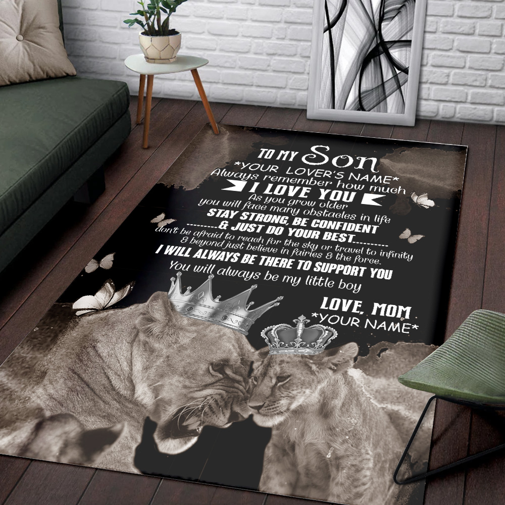 Personalized Floor Area Rugs To My Lion Son Stay Strong Be Confident And Just Do Your Best Indoor Home Decor Carpets Suitable For Children Living Room Bedroom Birthday Christmas Aniversary