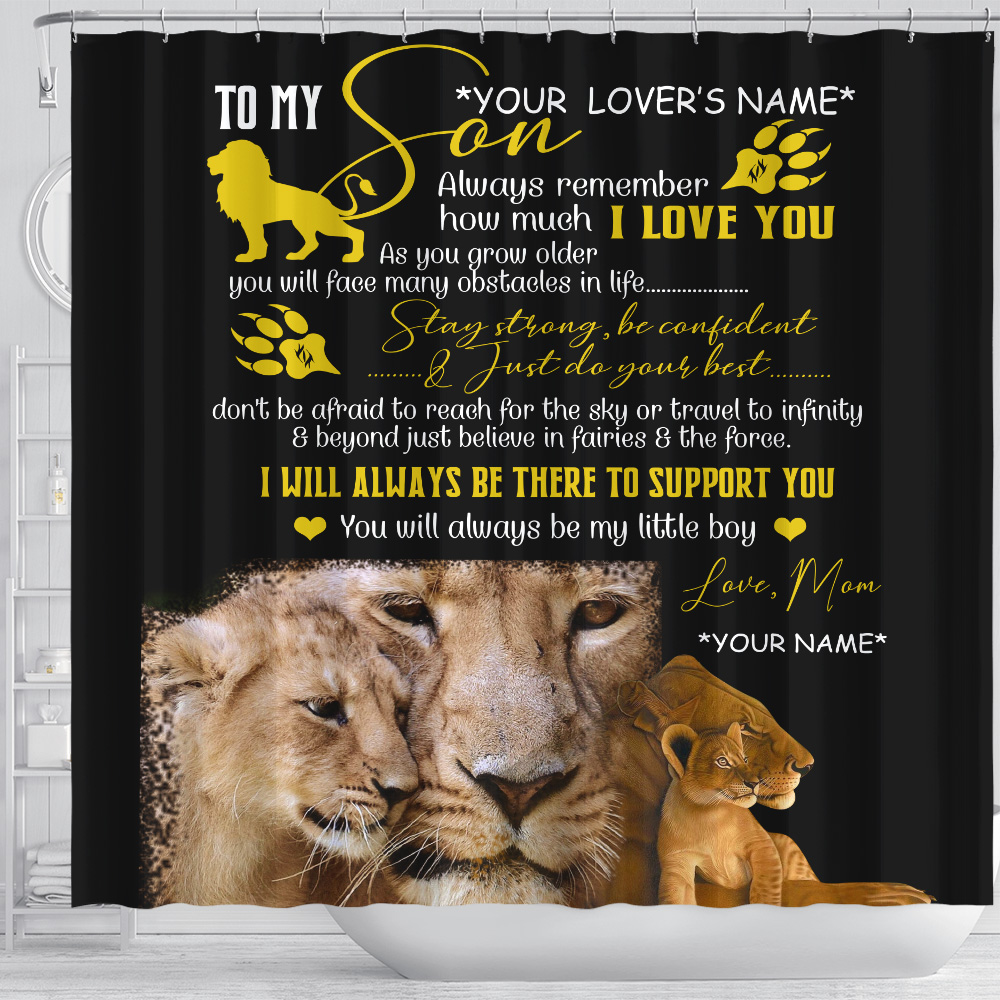 Personalized Shower Curtain 71 X 71 Inch To My Lion Son Stay Strong Be Confident And Just Do Your Best Set 12 Hooks Decorative Bath Modern Bathroom Accessories Machine Washable
