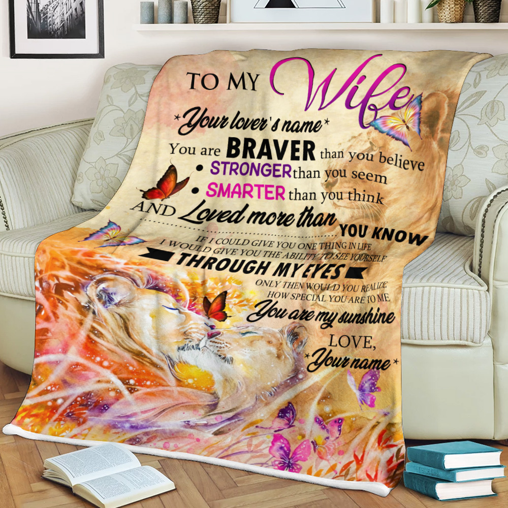 Personalized Fleece Throw Blanket To My Wife Stronger Than You Seem, Smarter Than You Think Pattern 2 Lightweight Super Soft Cozy For Decorative Couch Sofa Bed