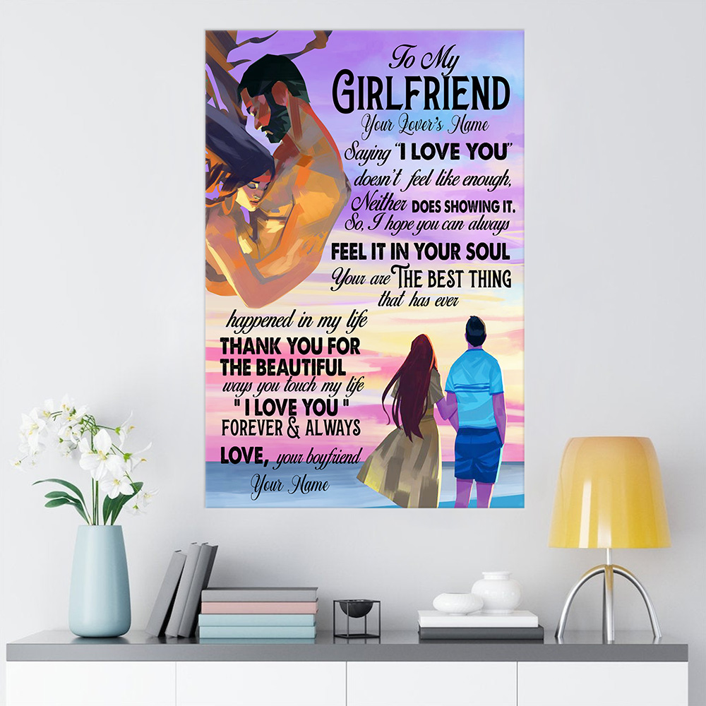 "Personalized Lovely Wall Art Poster To My Girlfriend Saying ""I Love You"" Doesn't Feel Like Enough Pattern 1 Prints Decoracion Wall Art Picture Living Room Wall"