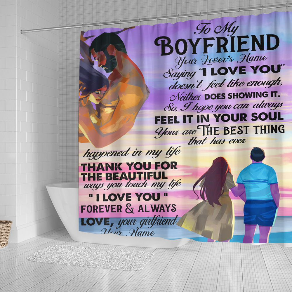 """Personalized Lovely Shower Curtain To My Boyfriend  Saying """"I Love You"""" Doesn't Feel Like Enough Pattern 1 Set 12 Hooks Decorative Bath Modern Bathroom Accessories Machine Washable"""