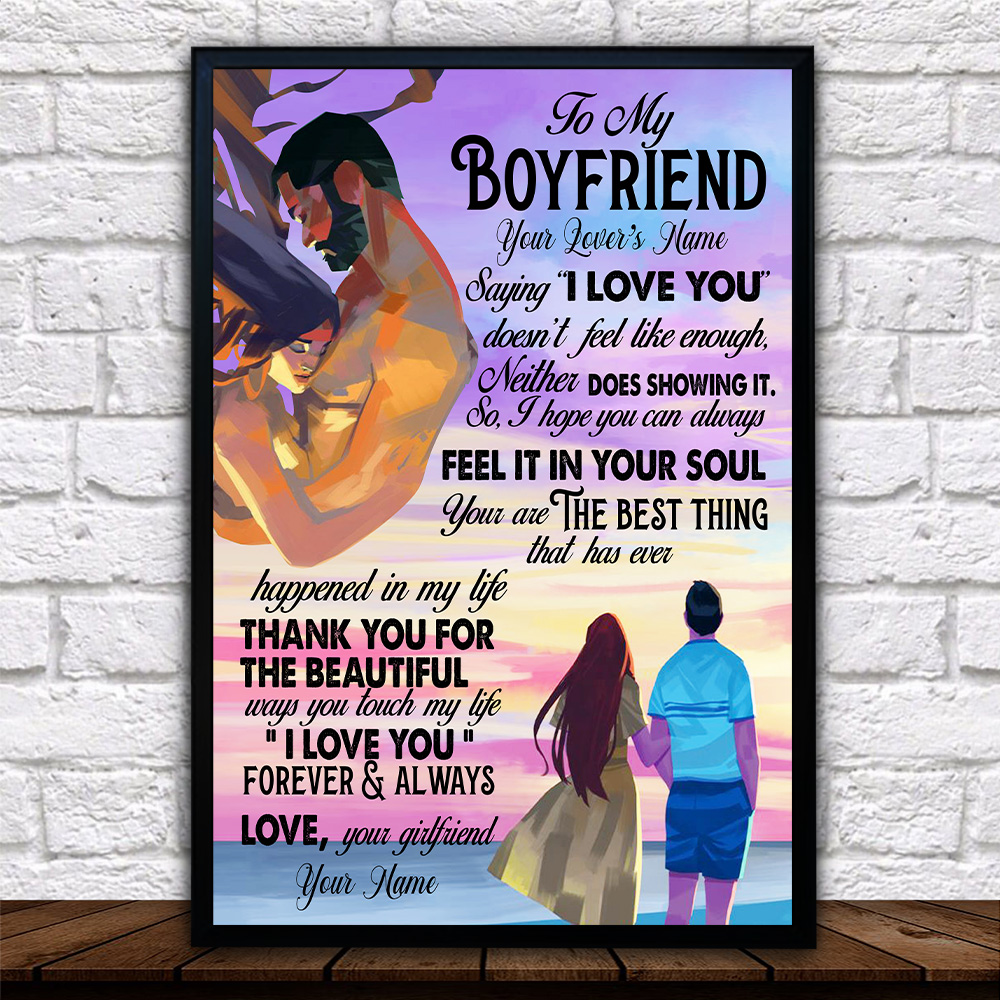 "Personalized Lovely Wall Art Poster To My Boyfriend Saying ""I Love You"" Doesn't Feel Like Enough Pattern 1 Prints Decoracion Wall Art Picture Living Room Wall"