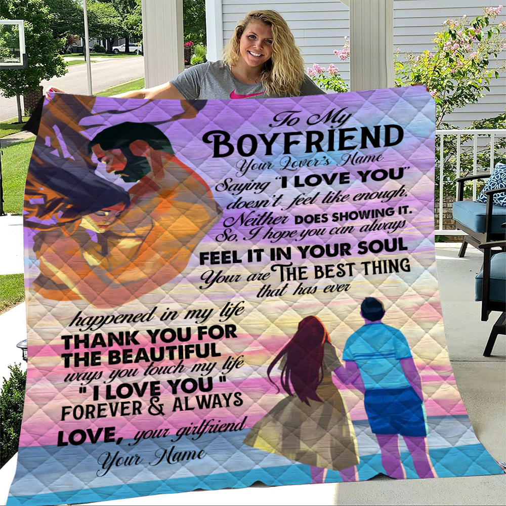 "Personalized Lovely Quilt Throw Blanket To My Boyfriend Saying ""I Love You"" Doesn't Feel Like Enough Pattern 1 Lightweight Super Soft Cozy For Decorative Couch Sofa Bed"
