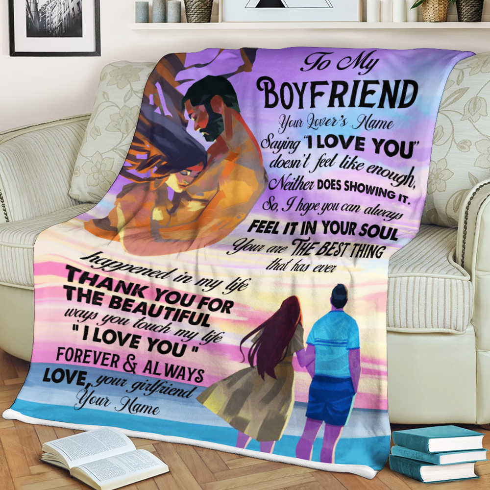 "Personalized Lovely Fleece Throw Blanket To My Boyfriend  Saying ""I Love You"" Doesn't Feel Like Enough Pattern 1 Lightweight Super Soft Cozy For Decorative Couch Sofa Bed"