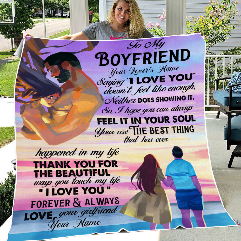 """Personalized Lovely Fleece Throw Blanket To My Boyfriend  Saying """"I Love You"""" Doesn't Feel Like Enough Pattern 1 Lightweight Super Soft Cozy For Decorative Couch Sofa Bed"""