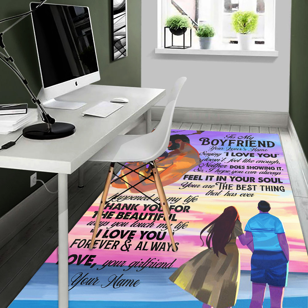 """Personalized Lovely To My Boyfriend  Saying """"I Love You"""" Doesn't Feel Like Enough Pattern 1 Vintage Area Rug Anti-Skid Floor Carpet For Living Room Dinning Room Bedroom Office"""