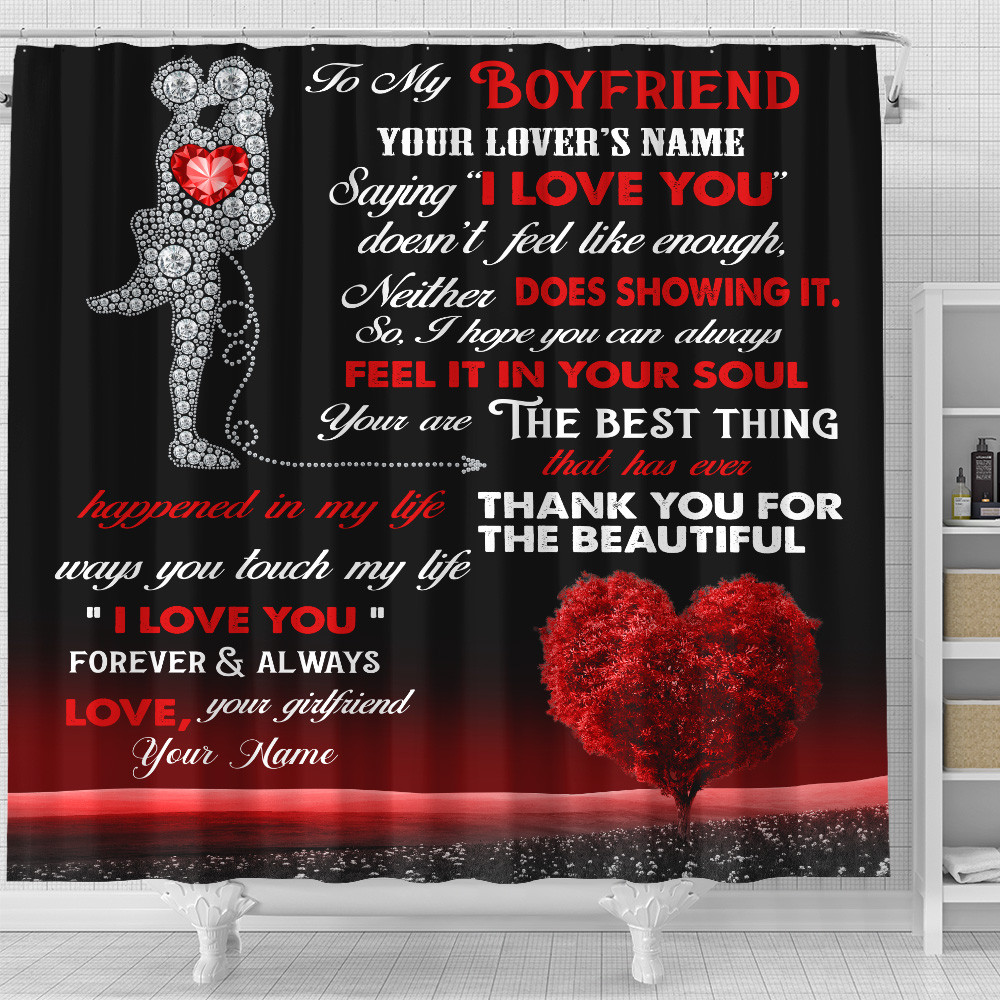 """Personalized Lovely Shower Curtain To My Boyfriend  Saying """"I Love You"""" Doesn't Feel Like Enough Pattern 2 Set 12 Hooks Decorative Bath Modern Bathroom Accessories Machine Washable"""