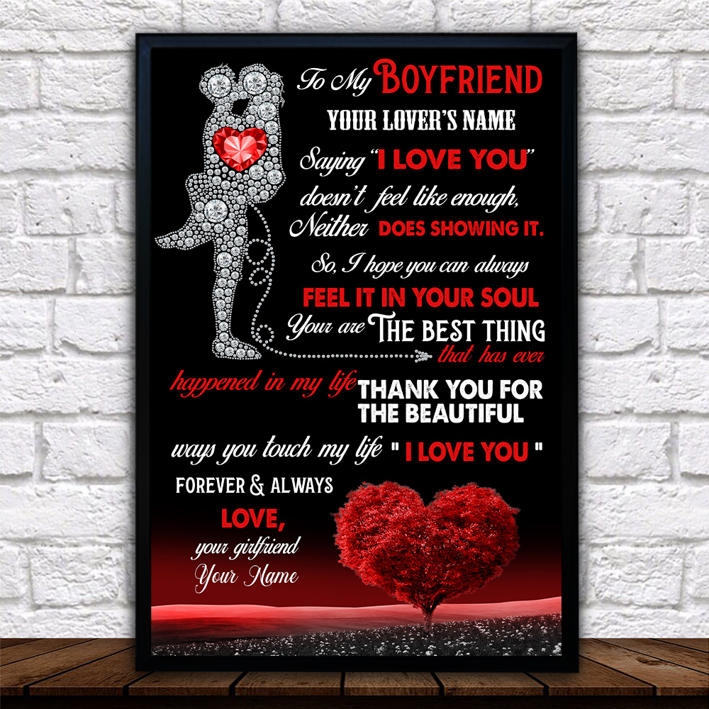 """Personalized Lovely Wall Art Poster To My Boyfriend  Saying """"I Love You"""" Doesn't Feel Like Enough Pattern 2 Prints Decoracion Wall Art Picture Living Room Wall"""
