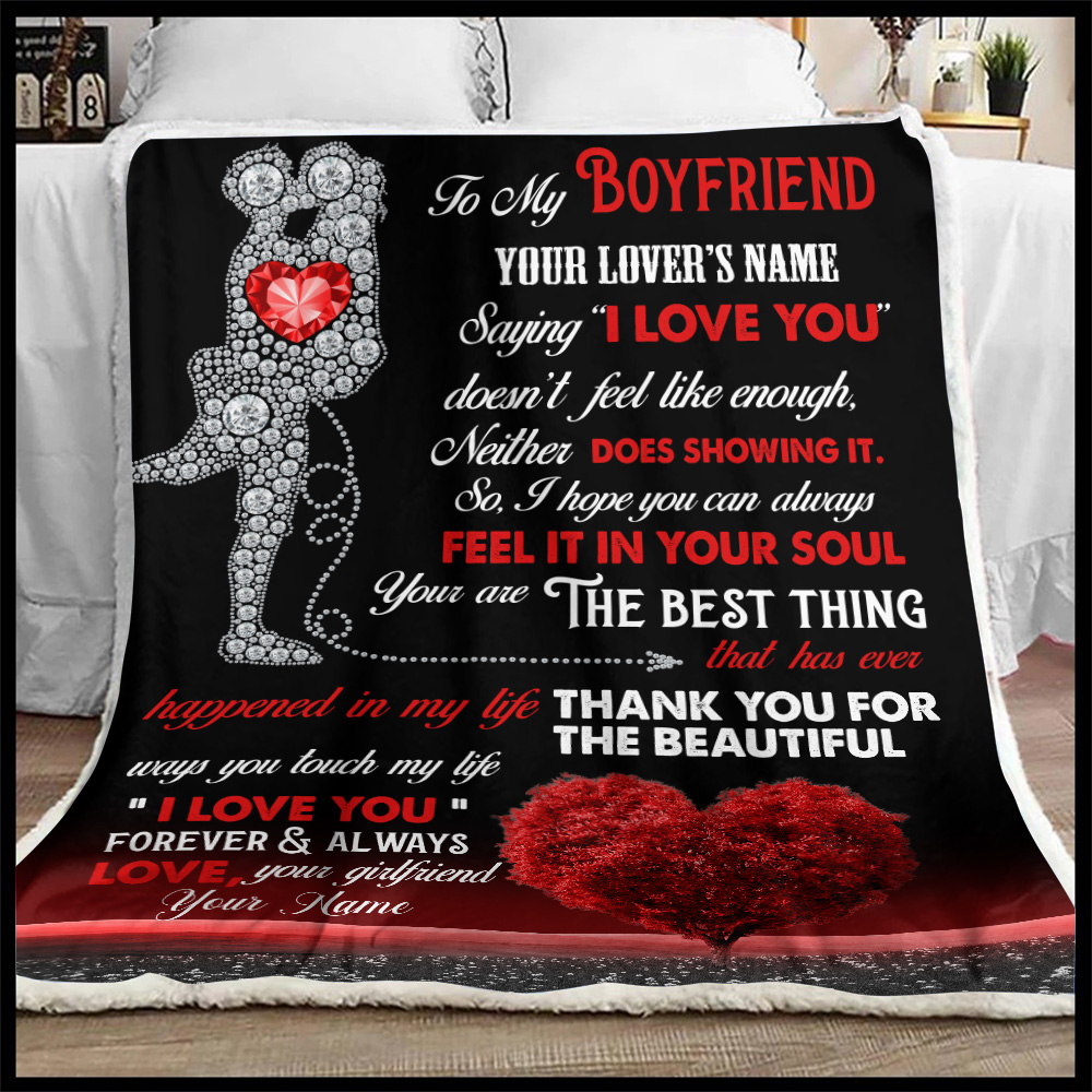 "Personalized Lovely Fleece Throw Blanket To My Boyfriend  Saying ""I Love You"" Doesn't Feel Like Enough Pattern 2 Lightweight Super Soft Cozy For Decorative Couch Sofa Bed"