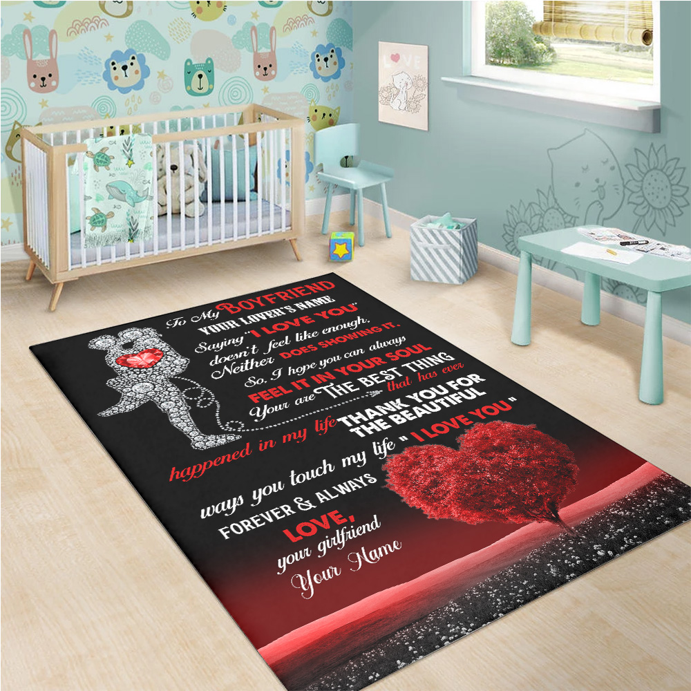 """Personalized Lovely To My Boyfriend Saying """"I Love You"""" Doesn't Feel Like Enough Pattern 2 Vintage Area Rug Anti-Skid Floor Carpet For Living Room Dinning Room Bedroom Office"""