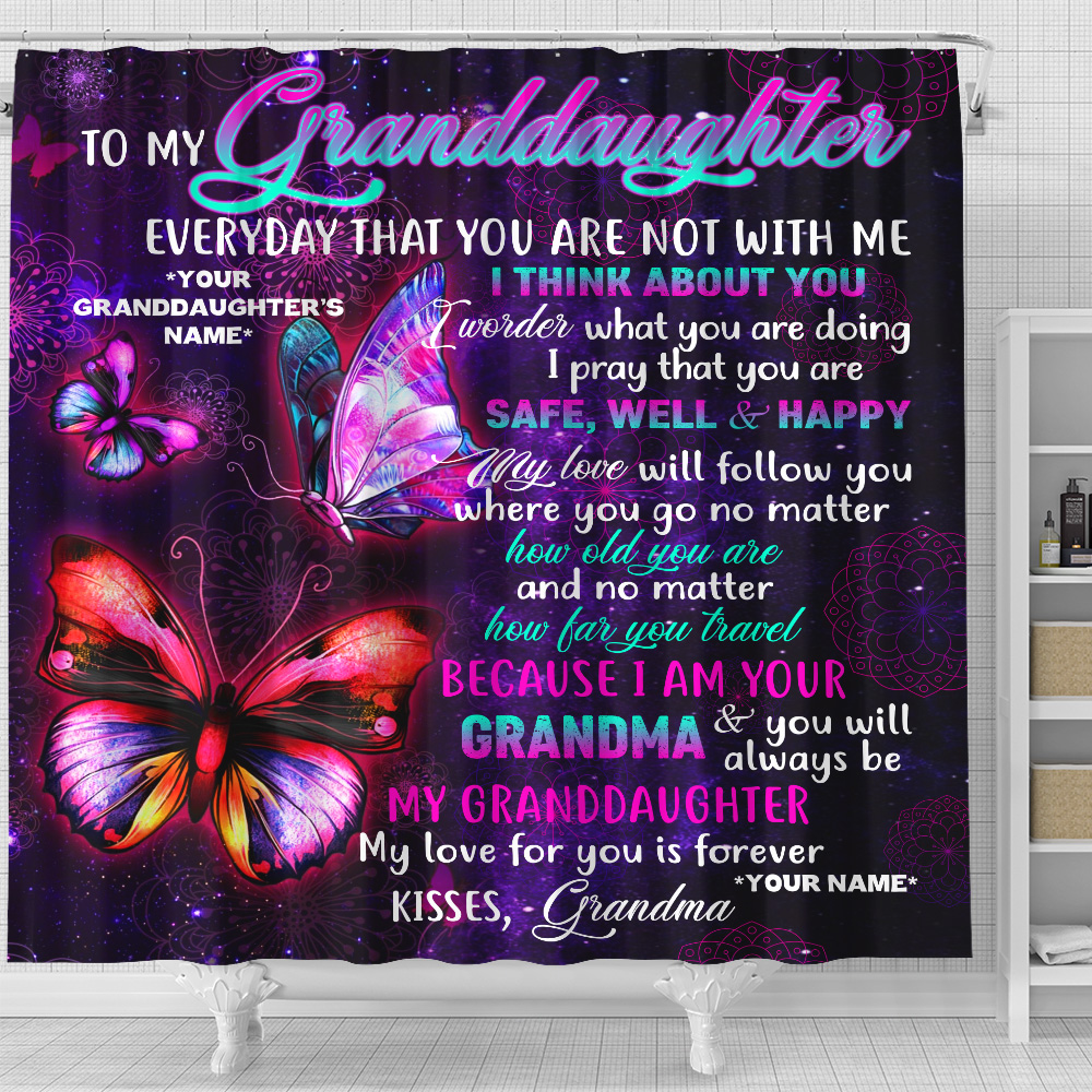 Personalized Shower Curtain 71 X 71 Inch To My Granddaughter I Pray That You Are Safe, Well And Happy Set 12 Hooks Decorative Bath Modern Bathroom Accessories Machine Washable