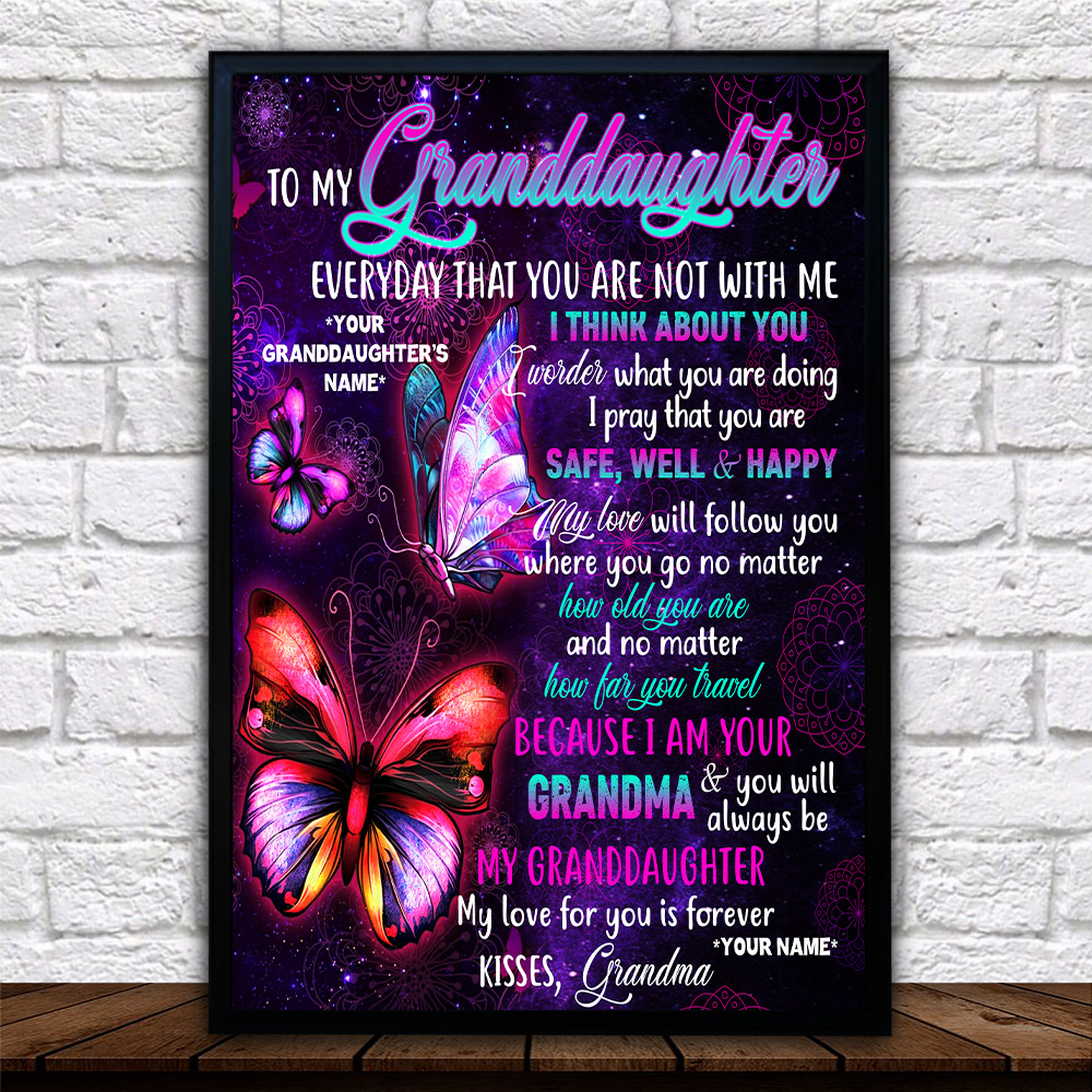 Personalized Wall Art Poster Canvas 1 Panel To My Granddaughter I Pray That You Are Safe, Well And Happy Great Idea For Living Home Decorations Birthday Christmas Aniversary