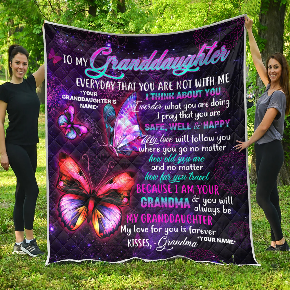 Personalized Quilt Throw Blanket To My Granddaughter I Pray That You Are Safe, Well And Happy Lightweight Super Soft Cozy For Decorative Couch Sofa Bed