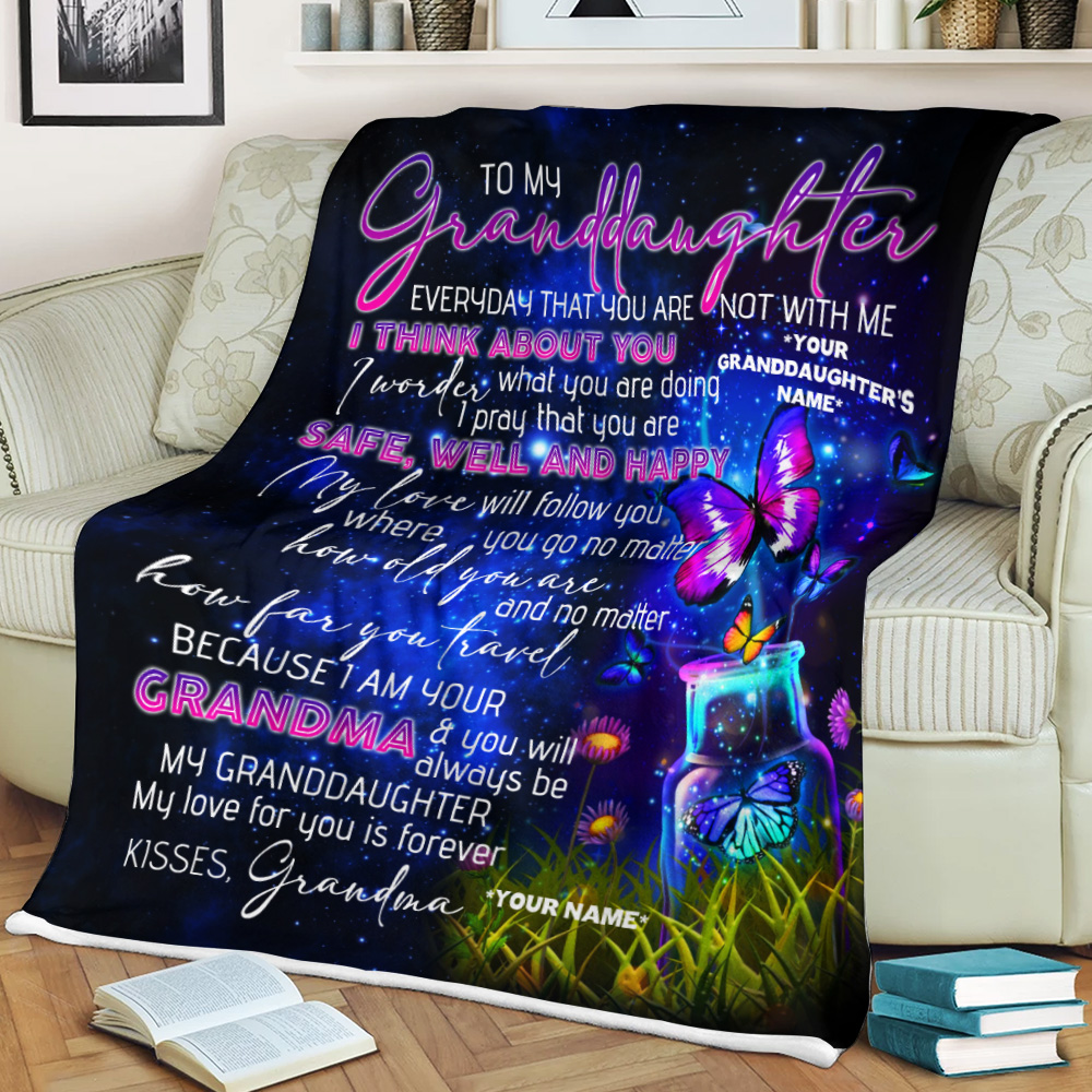 Personalized Fleece Throw Blanket To My Granddaughter I Pray That You Are Safe, Well And Happy Lightweight Super Soft Cozy For Decorative Couch Sofa Bed