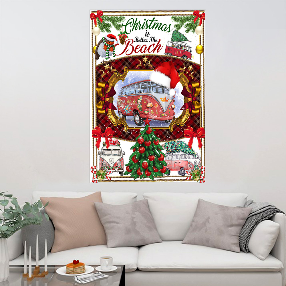 Personalized Wall Art Poster Canvas 1 Panel Christmas Is Better At The Beach Pattern 1 Great Idea For Living Home Decorations Birthday Christmas Aniversary