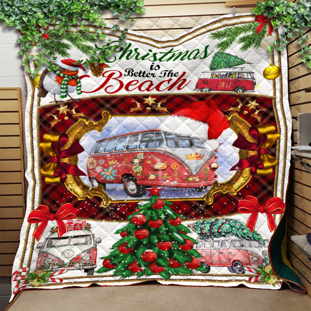 Personalized Quilt Throw Blanket Christmas Is Better At The Beach Pattern 1 Lightweight Super Soft Cozy For Decorative Couch Sofa Bed