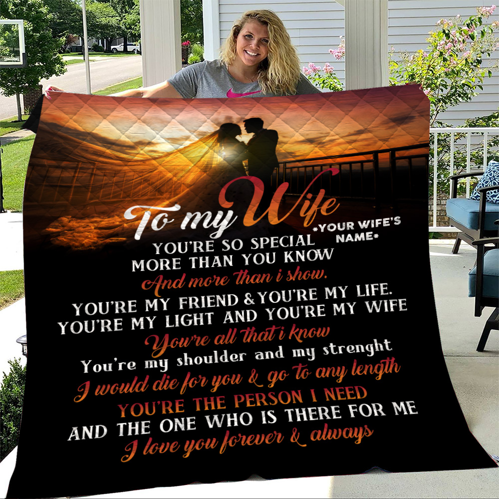 Personalized Quilt Throw Blanket To My Wife You Are The Person I Need Lightweight Super Soft Cozy For Decorative Couch Sofa Bed
