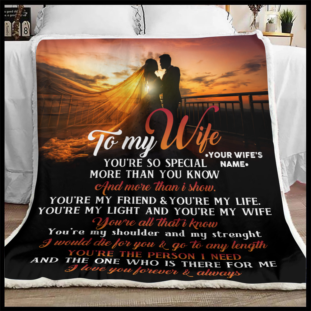 Personalized Fleece Throw Blanket To My Wife You Are The Person I Need Lightweight Super Soft Cozy For Decorative Couch Sofa Bed