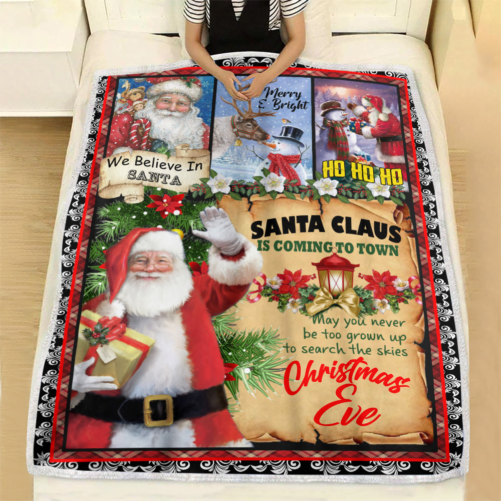 Personalized Fleece Throw Blanket Santa Claus Is Coming To Town Pattern 2 Lightweight Super Soft Cozy For Decorative Couch Sofa Bed
