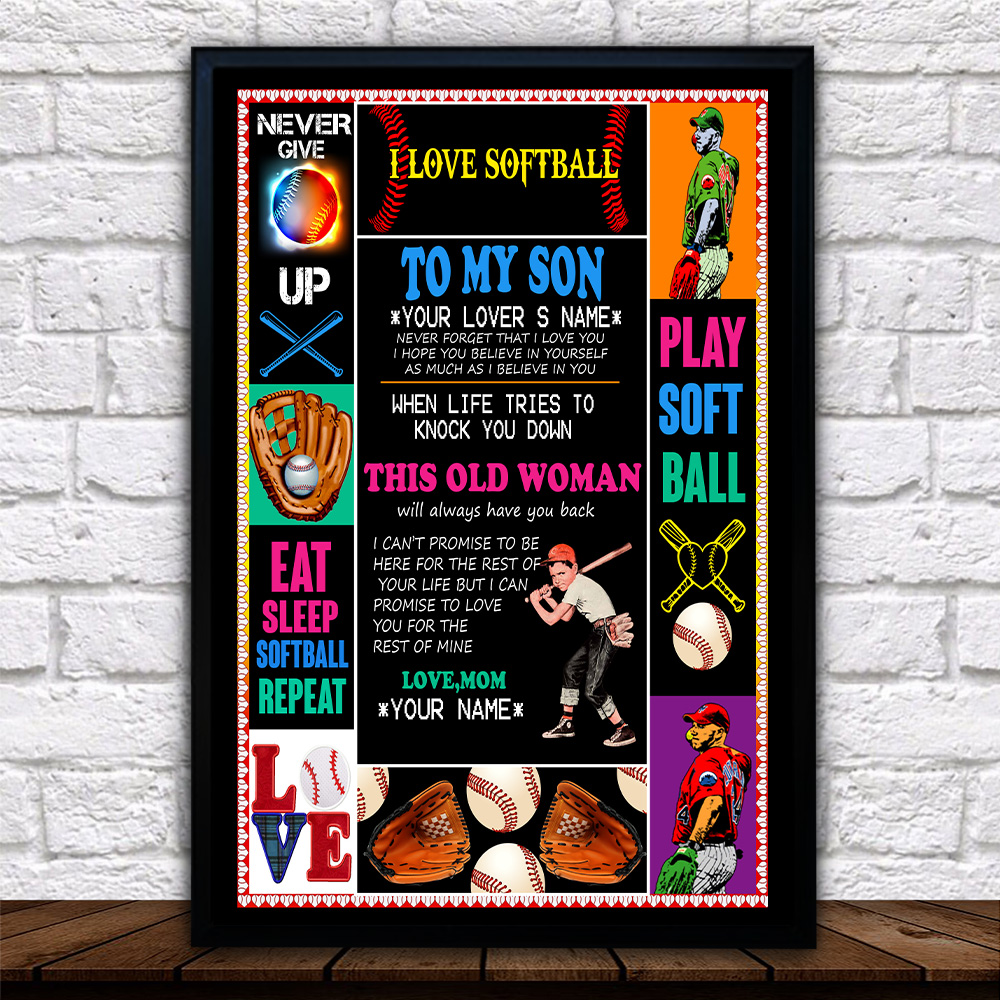 Personalized Wall Art Poster Canvas 1 Panel To My Baseball Son This Old Woman Will Always Have Your Back Great Idea For Living Home Decorations Birthday Christmas Aniversary