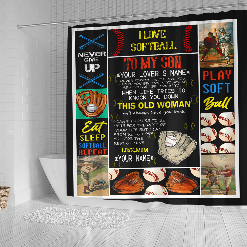 Personalized Shower Curtain 71 X 71 Inch To My Baseball Son This Old Woman Will Always Have Your Back Set 12 Hooks Decorative Bath Modern Bathroom Accessories Machine Washable