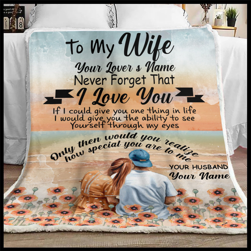 Personalized Fleece Throw Blanket To My Wife Only Then Would You Realize, How Special You Are To Me Lightweight Super Soft Cozy For Decorative Couch Sofa Bed