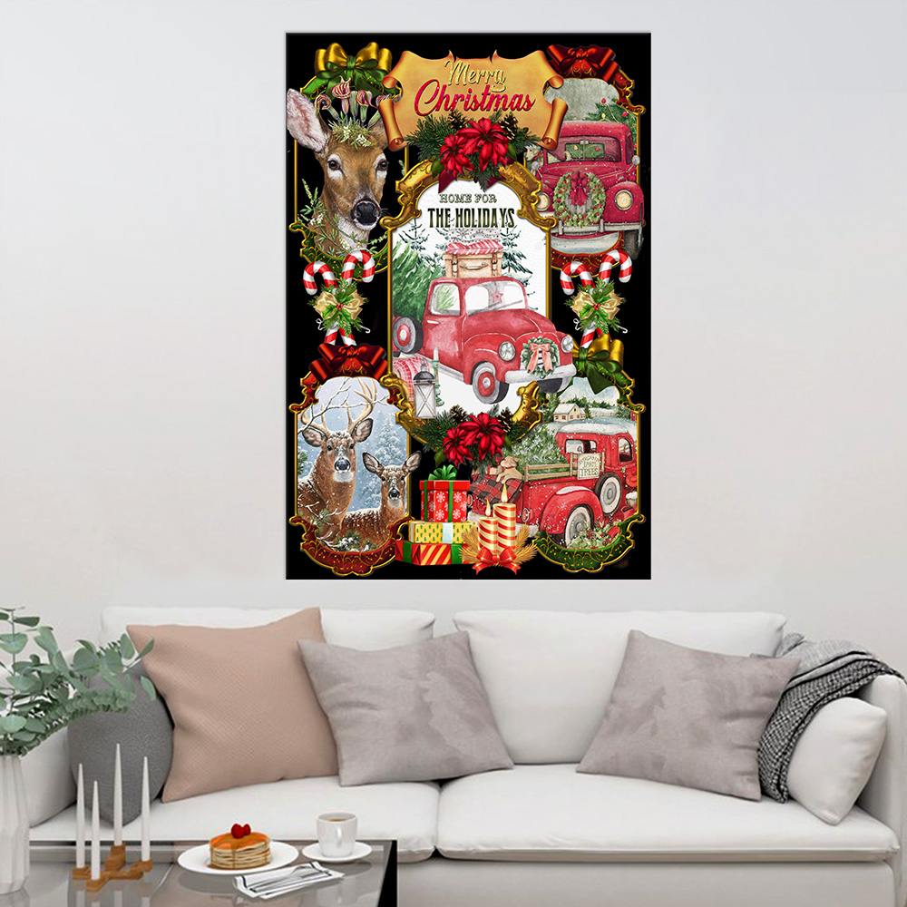 Personalized Wall Art Poster Canvas 1 Panel Home For The Holidays Pattern 2 Great Idea For Living Home Decorations Birthday Christmas Aniversary
