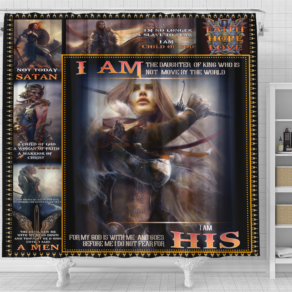 Personalized Shower Curtain 71 X 71 Inch I Am The Daughter Of A King Who Is Not Moved By The World Set 12 Hooks Decorative Bath Modern Bathroom Accessories Machine Washable