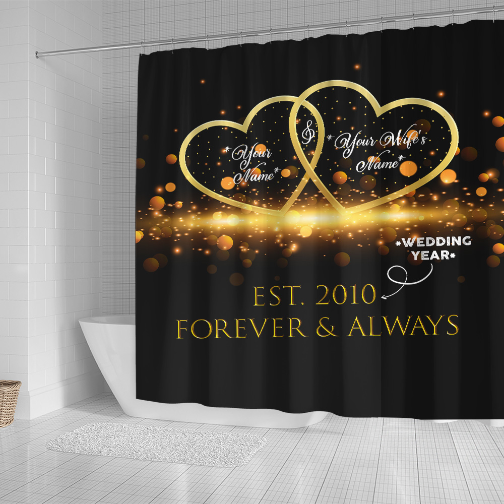 Personalized Shower Curtain 71 X 71 Inch Customized Blanket For The Closet One To Your Heart Set 12 Hooks Decorative Bath Modern Bathroom Accessories Machine Washable