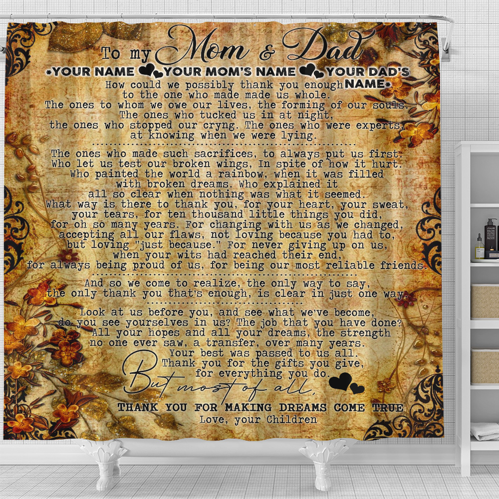 Personalized Lovely Shower Curtain To My Mom Thank You For Making Dream Come True Pattern 2 Set 12 Hooks Decorative Bath Modern Bathroom Accessories Machine Washable