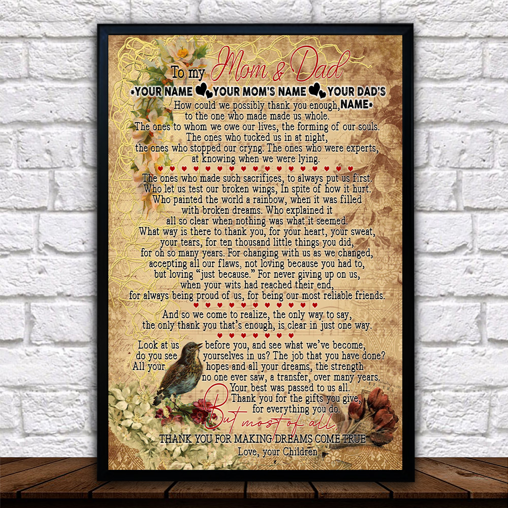 Personalized Lovely Wall Art Poster To My Mom Thank You For Making Dream Come True Pattern 1 Prints Decoracion Wall Art Picture Living Room Wall