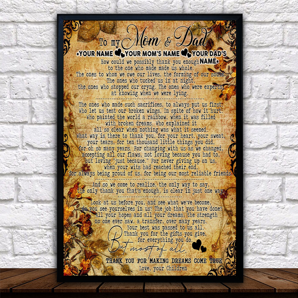 Personalized Lovely Wall Art Poster To My Mom Thank You For Making Dream Come True Pattern 2 Prints Decoracion Wall Art Picture Living Room Wall