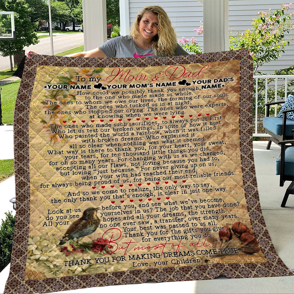 Personalized Lovely Quilt Throw Blanket To My Mom Thank You For Making Dream Come True Pattern 1 Lightweight Super Soft Cozy For Decorative Couch Sofa Bed