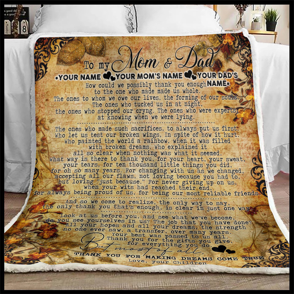 Personalized Lovely Fleece Throw Blanket To My Mom Thank You For Making Dream Come True Pattern 2 Lightweight Super Soft Cozy For Decorative Couch Sofa Bed
