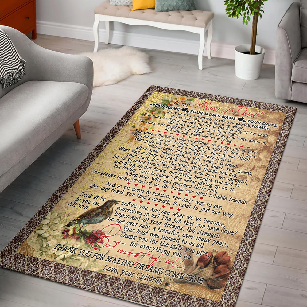 Personalized Lovely To My Mom Thank You For Making Dream Come True Pattern 1 Vintage Area Rug Anti-Skid Floor Carpet For Living Room Dinning Room Bedroom Office
