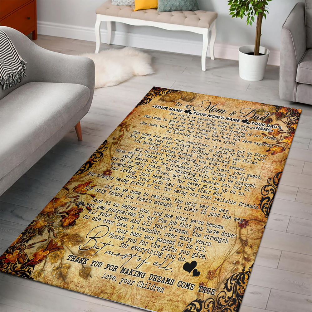 Personalized Lovely To My Mom Thank You For Making Dream Come True Pattern 2 Vintage Area Rug Anti-Skid Floor Carpet For Living Room Dinning Room Bedroom Office