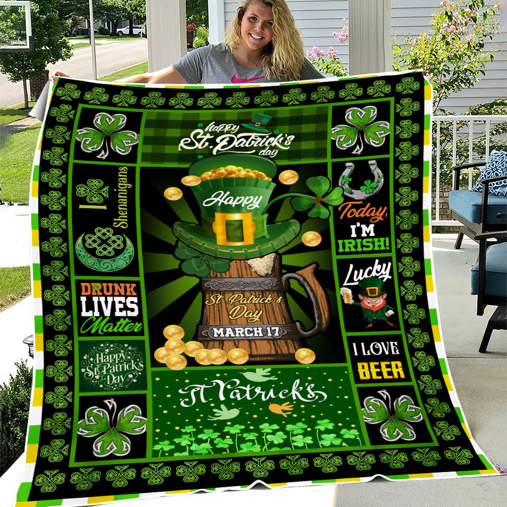 Personalized Lovely Fleece Throw Blanket St Patrick's Day Today I'm Irish Pattern 1 Lightweight Super Soft Cozy For Decorative Couch Sofa Bed