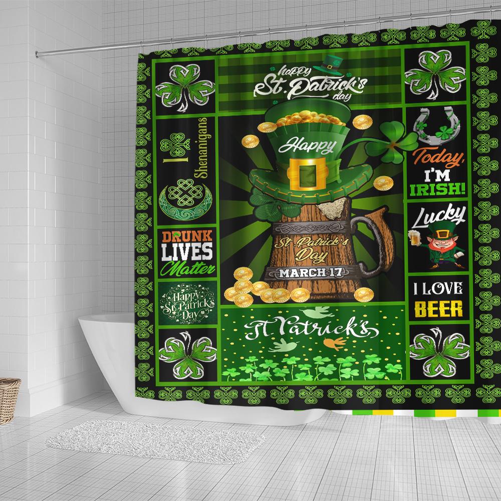 Personalized Lovely Shower Curtain St Patrick's Day Today I'm Irish Pattern 1 Set 12 Hooks Decorative Bath Modern Bathroom Accessories Machine Washable